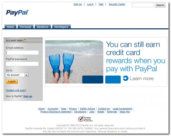 Fake PayPal log-in