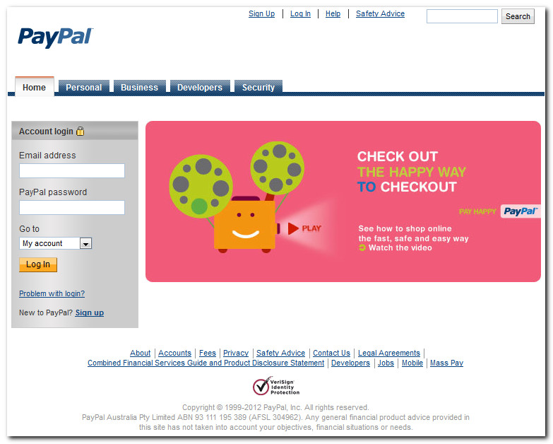 paypal desktop login